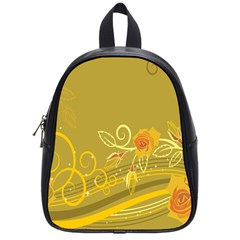 Flower Floral Yellow Sunflower Star Leaf Line Gold School Bag (small)