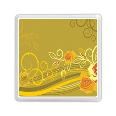 Flower Floral Yellow Sunflower Star Leaf Line Gold Memory Card Reader (square)