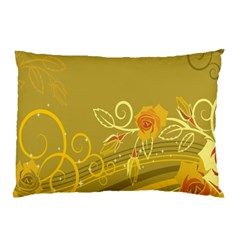 Flower Floral Yellow Sunflower Star Leaf Line Gold Pillow Case (two Sides)