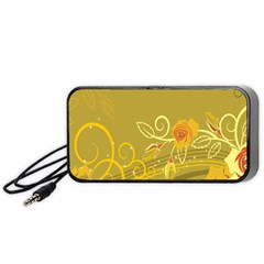 Flower Floral Yellow Sunflower Star Leaf Line Gold Portable Speaker (black)