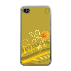 Flower Floral Yellow Sunflower Star Leaf Line Gold Apple Iphone 4 Case (clear)