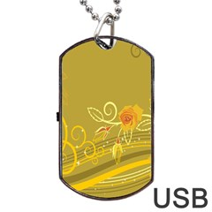 Flower Floral Yellow Sunflower Star Leaf Line Gold Dog Tag Usb Flash (two Sides)