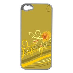 Flower Floral Yellow Sunflower Star Leaf Line Gold Apple Iphone 5 Case (silver)
