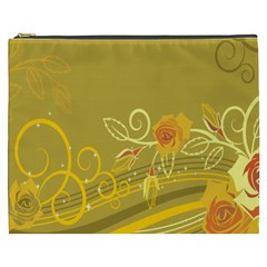 Flower Floral Yellow Sunflower Star Leaf Line Gold Cosmetic Bag (xxxl)