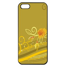 Flower Floral Yellow Sunflower Star Leaf Line Gold Apple Iphone 5 Seamless Case (black)