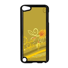 Flower Floral Yellow Sunflower Star Leaf Line Gold Apple Ipod Touch 5 Case (black)
