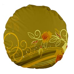 Flower Floral Yellow Sunflower Star Leaf Line Gold Large 18  Premium Round Cushions