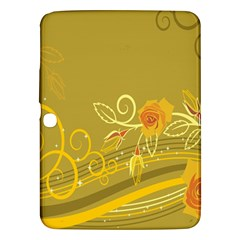 Flower Floral Yellow Sunflower Star Leaf Line Gold Samsung Galaxy Tab 3 (10 1 ) P5200 Hardshell Case