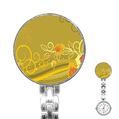 Flower Floral Yellow Sunflower Star Leaf Line Gold Stainless Steel Nurses Watch