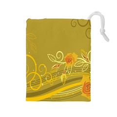 Flower Floral Yellow Sunflower Star Leaf Line Gold Drawstring Pouches (large)