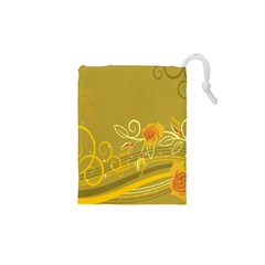 Flower Floral Yellow Sunflower Star Leaf Line Gold Drawstring Pouches (xs)