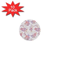 Flower Floral Sunflower Rose Purple Red Star 1  Mini Buttons (10 Pack)