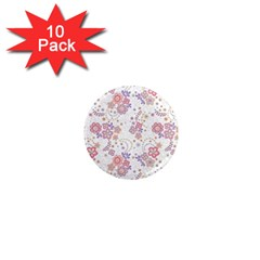 Flower Floral Sunflower Rose Purple Red Star 1  Mini Magnet (10 Pack)