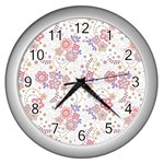 Flower Floral Sunflower Rose Purple Red Star Wall Clocks (Silver)  Front