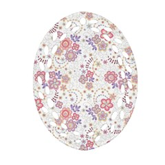 Flower Floral Sunflower Rose Purple Red Star Oval Filigree Ornament (two Sides)