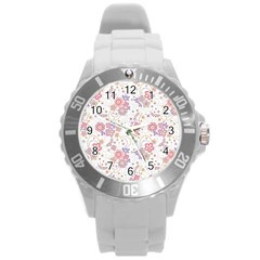 Flower Floral Sunflower Rose Purple Red Star Round Plastic Sport Watch (l)
