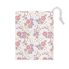 Flower Floral Sunflower Rose Purple Red Star Drawstring Pouches (large)