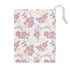 Flower Floral Sunflower Rose Purple Red Star Drawstring Pouches (extra Large)