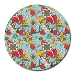 Flower Fruit Star Polka Rainbow Rose Round Mousepads
