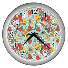 Flower Fruit Star Polka Rainbow Rose Wall Clocks (silver)