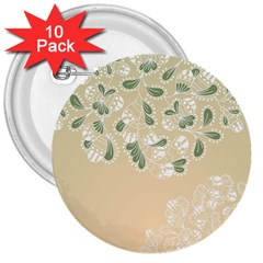 Flower Frame Green Sexy 3  Buttons (10 Pack)