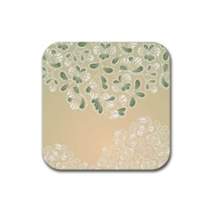 Flower Frame Green Sexy Rubber Coaster (square)