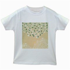 Flower Frame Green Sexy Kids White T Shirts