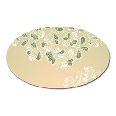 Flower Frame Green Sexy Oval Magnet