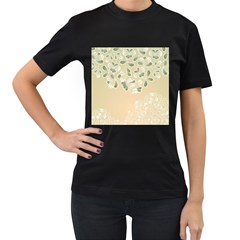 Flower Frame Green Sexy Women s T Shirt (black) (two Sided)