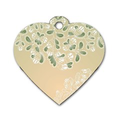 Flower Frame Green Sexy Dog Tag Heart (one Side)