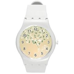 Flower Frame Green Sexy Round Plastic Sport Watch (m)