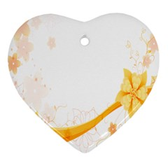 Flower Floral Yellow Sunflower Star Leaf Line Ornament (heart)