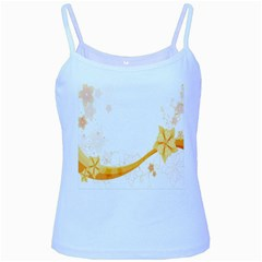 Flower Floral Yellow Sunflower Star Leaf Line Baby Blue Spaghetti Tank