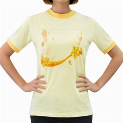 Flower Floral Yellow Sunflower Star Leaf Line Women s Fitted Ringer T Shirts