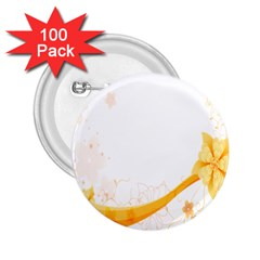Flower Floral Yellow Sunflower Star Leaf Line 2 25  Buttons (100 Pack)