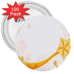 Flower Floral Yellow Sunflower Star Leaf Line 3  Buttons (100 Pack)