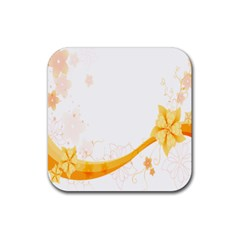 Flower Floral Yellow Sunflower Star Leaf Line Rubber Square Coaster (4 Pack)