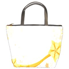 Flower Floral Yellow Sunflower Star Leaf Line Bucket Bags
