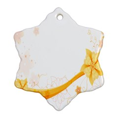 Flower Floral Yellow Sunflower Star Leaf Line Snowflake Ornament (two Sides)