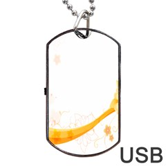 Flower Floral Yellow Sunflower Star Leaf Line Dog Tag Usb Flash (two Sides)