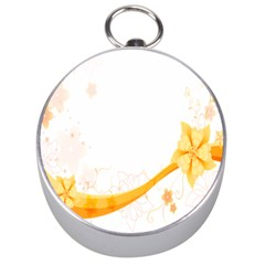 Flower Floral Yellow Sunflower Star Leaf Line Silver Compasses