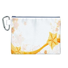 Flower Floral Yellow Sunflower Star Leaf Line Canvas Cosmetic Bag (l)