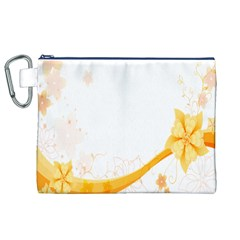 Flower Floral Yellow Sunflower Star Leaf Line Canvas Cosmetic Bag (xl)