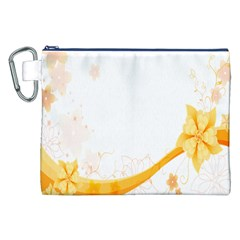 Flower Floral Yellow Sunflower Star Leaf Line Canvas Cosmetic Bag (xxl)