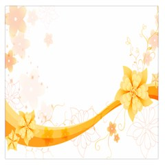 Flower Floral Yellow Sunflower Star Leaf Line Large Satin Scarf (square)