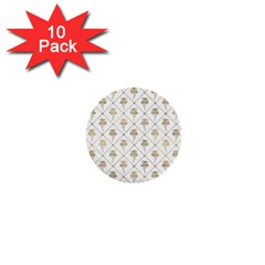 Flower Leaf Gold 1  Mini Buttons (10 Pack)