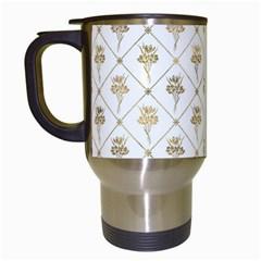 Flower Leaf Gold Travel Mugs (white)