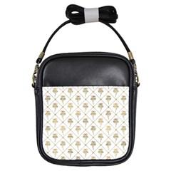 Flower Leaf Gold Girls Sling Bags