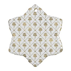 Flower Leaf Gold Snowflake Ornament (two Sides)