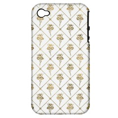 Flower Leaf Gold Apple Iphone 4/4s Hardshell Case (pc+silicone)